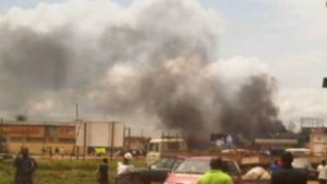 Burnt church in Zaria and burnt mosque in Zongo Kataf, both towns in Kaduna after religious upheavals