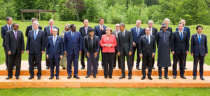 PIC. 3. PRESIDENT MUHAMMADU BUHARI (3RD-R); GERMAN CHANCELLOR ANGELA MERKEL (M); U.S. PRESIDENT BARACK OBAMA (5TH-R); FRENCH PRESIDENT FRANCOISE HOLLANDE (4TH-R); BRITISH PRIME MINISTER DAVID CAMERON (2ND-R); PRESIDENT ELLEN JOHNSON SIR-LEAF OF LIBERIA (5TH-L); PRESIDENT MACKY SALL OF SENEGAL (4TH-L); ETHIOPIAN PRIME MINISTER HAILE MARIAM DESALGN; AND OTHERS DELEGATES AT THE WORKING SESSION OF THE G7 OUTREACH PROGRAMME IN SCHLOSS ELMAU, GERMANY ON MONDAY (8/6/15). 2974/87/6/15/ICE/BJO/NAN