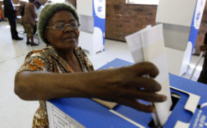 Woman voting in South Africa